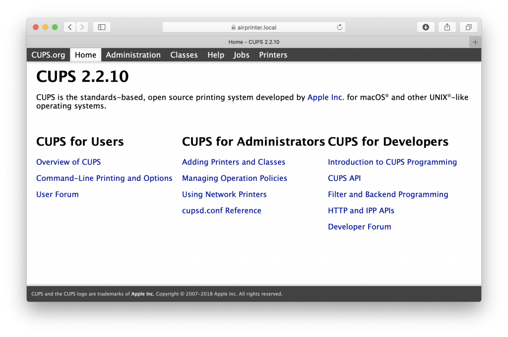 CUPS with AirPrint support